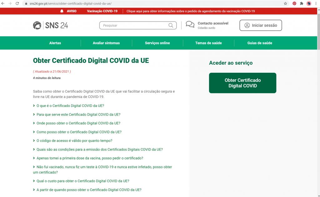 pagina SNS 24 obter certificado digital