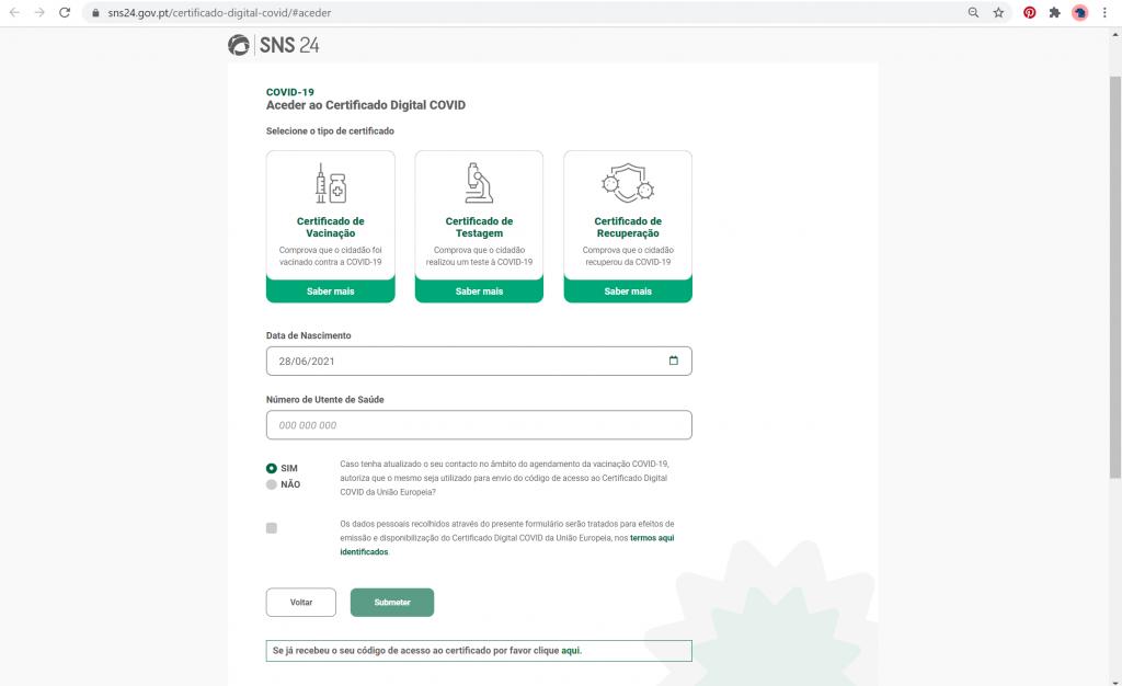 sns24 aceder ao certificado digital covid